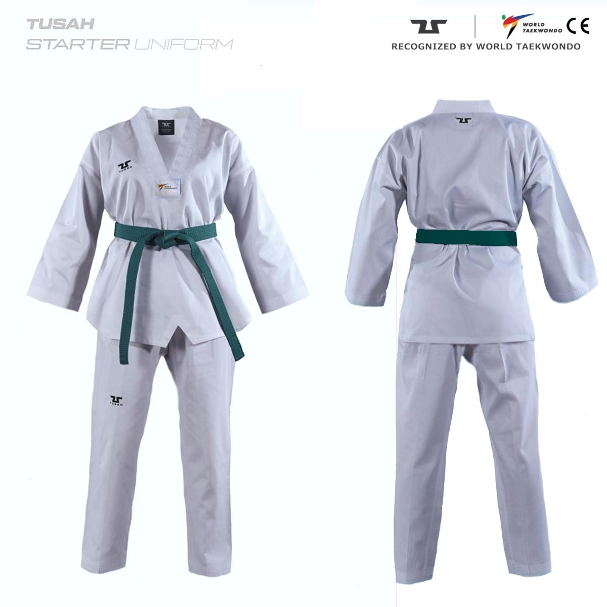 Adults World Taekwondo White Collar Tusah Taekwondo Range Uniform