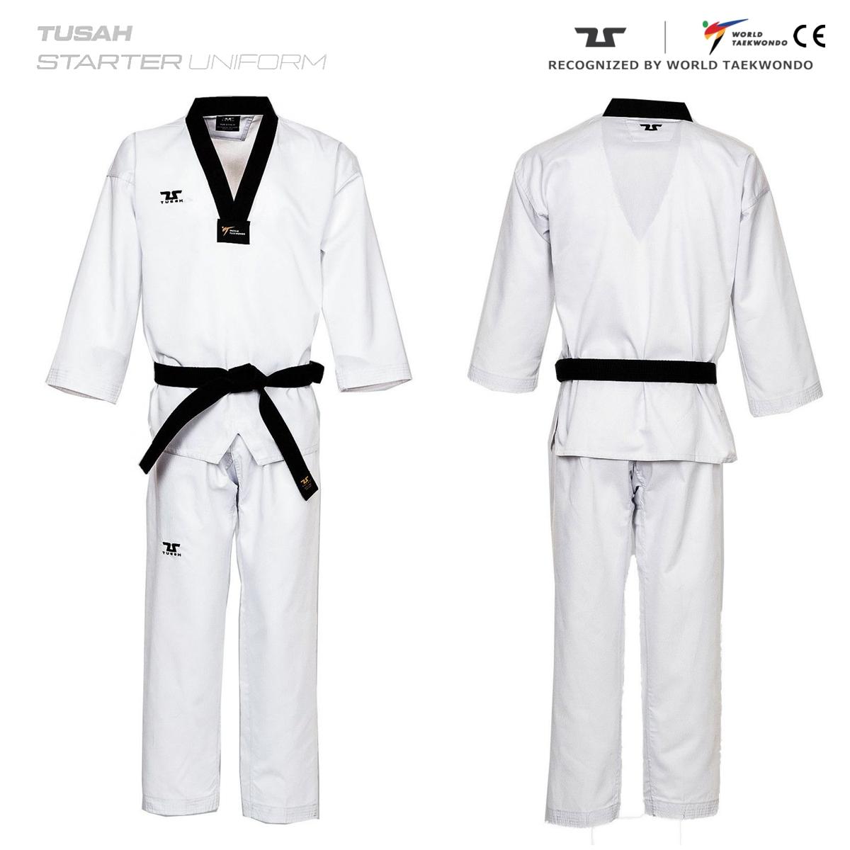 Adults World Taekwondo Black Collar Tusah Taekwondo Range Uniform