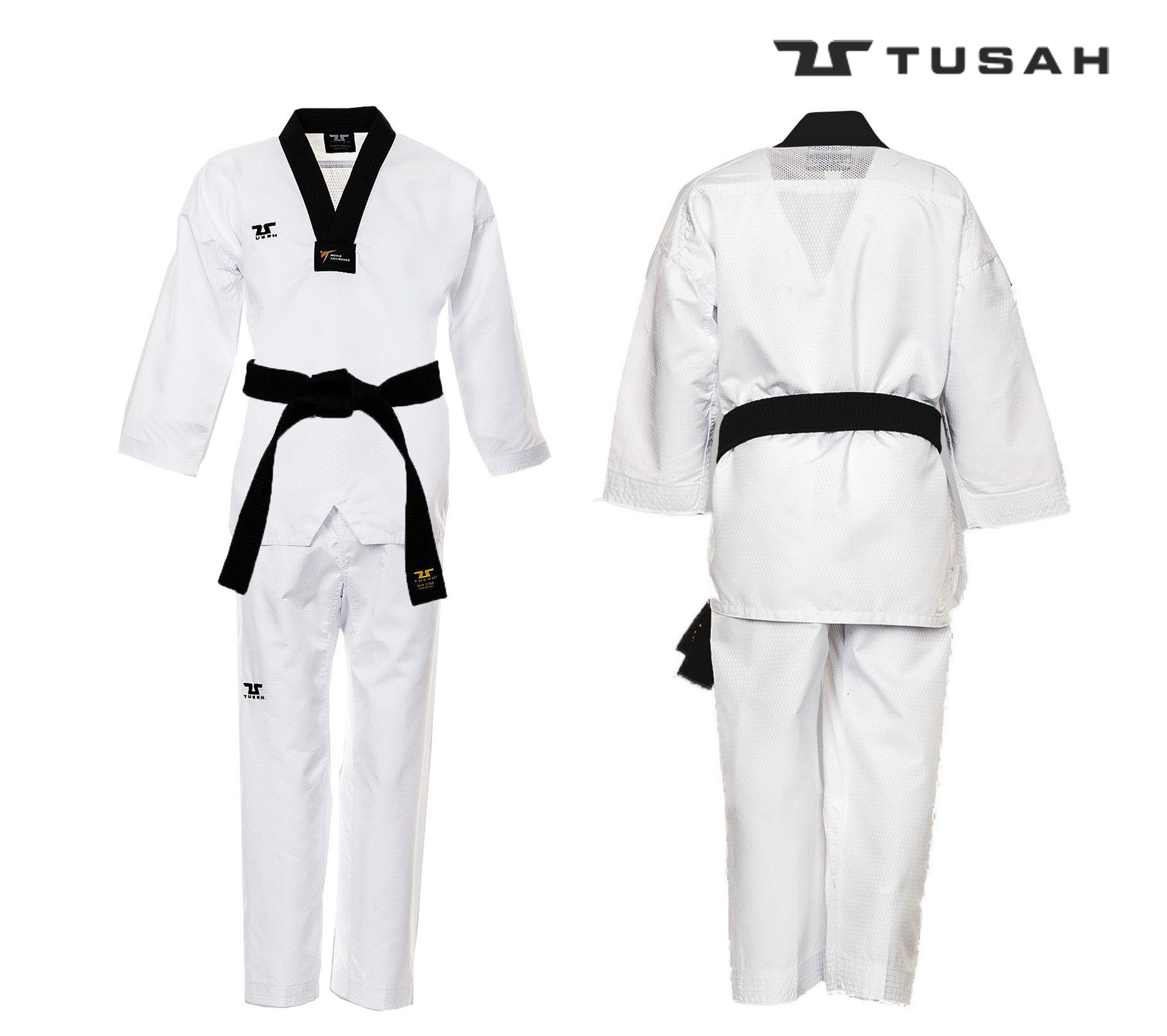 World Taekwondo Black Collar Fighter UniformWorld Taekwondo Black Collar Fighter Uniform