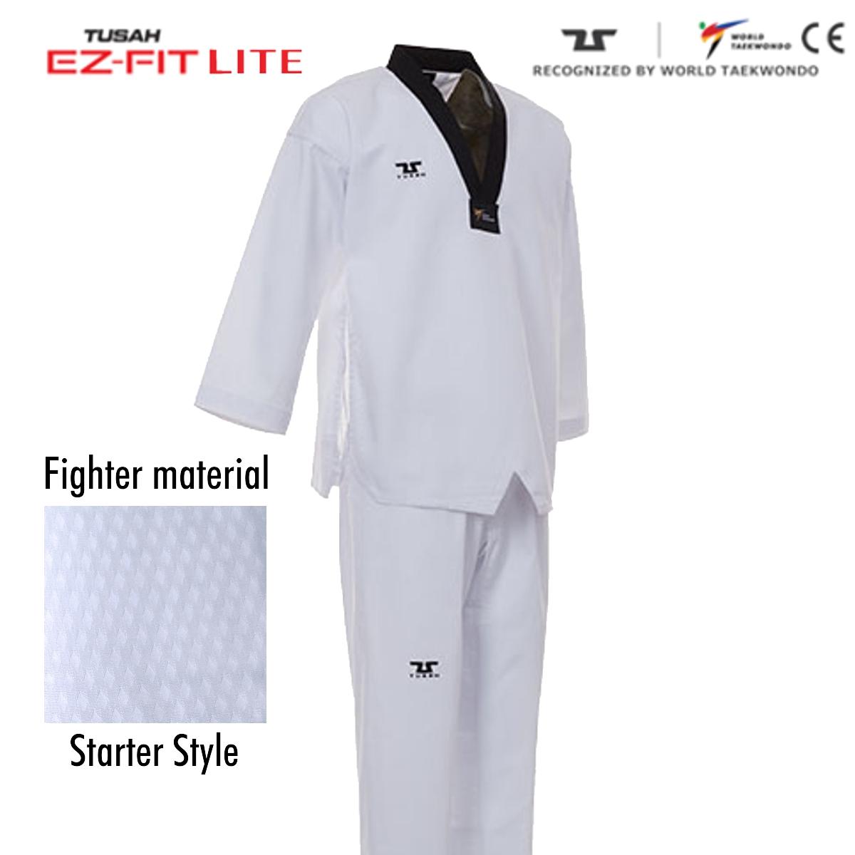 Ez-Fit Lite Fighter Uniform Black Collar